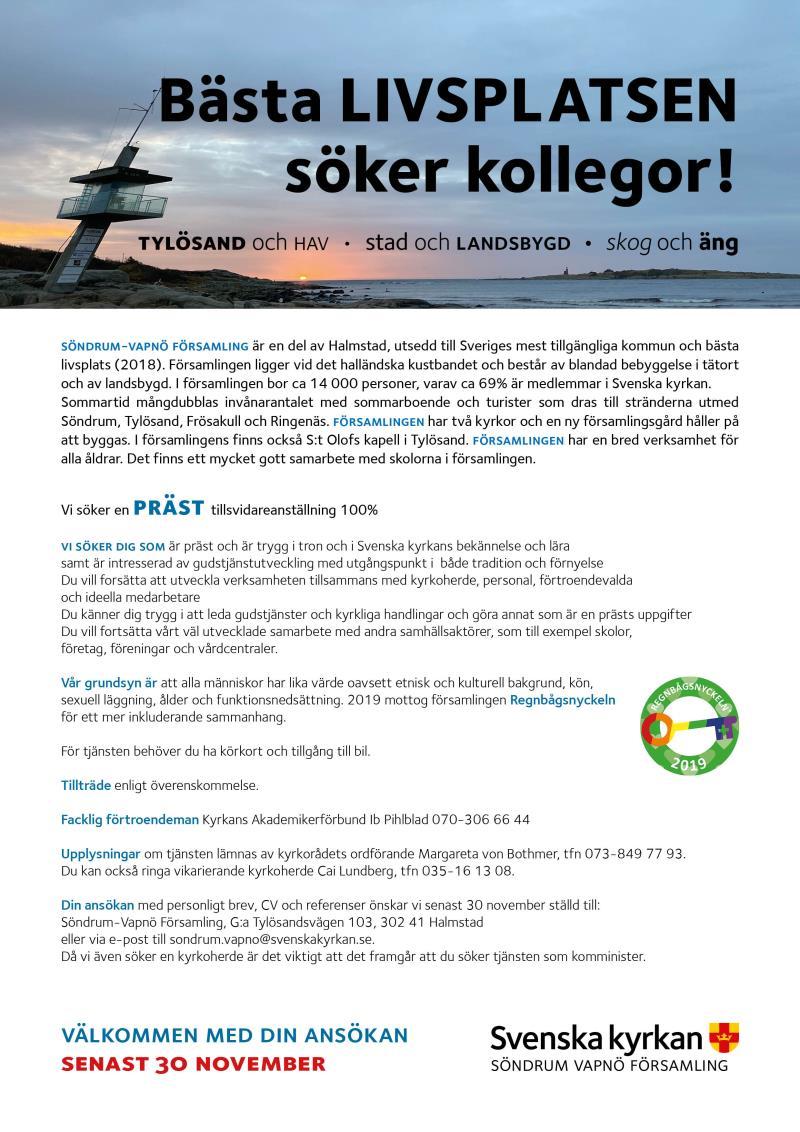 Söndrum-Vapnö församling söker en komminister.