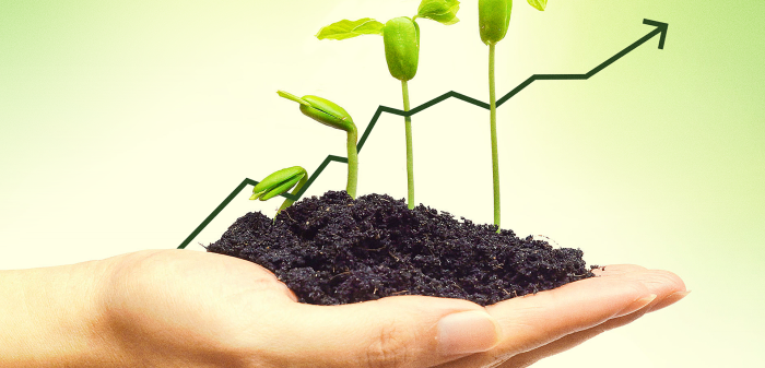 A person holding some soil in their hand, from which four sprouts are growing. Behind them is a graph going upwards.