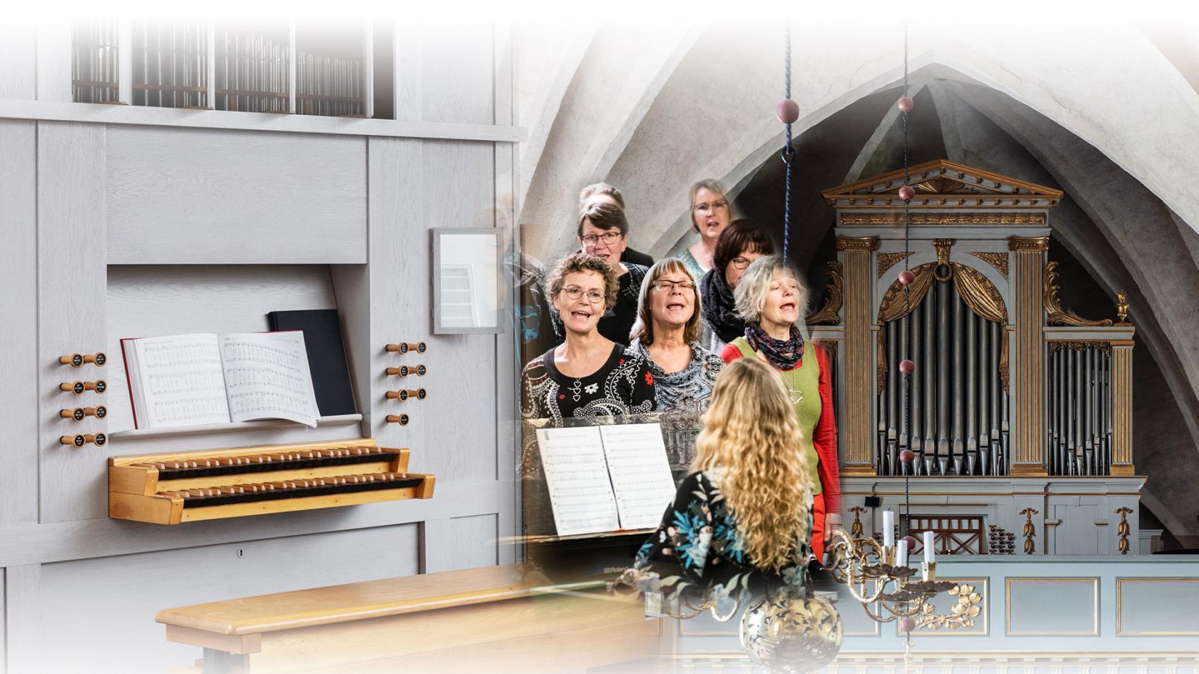 Kollage med bild på Ljusets kyrkas orgel, en sjungande kör och Botkyrka kyrkas orgel