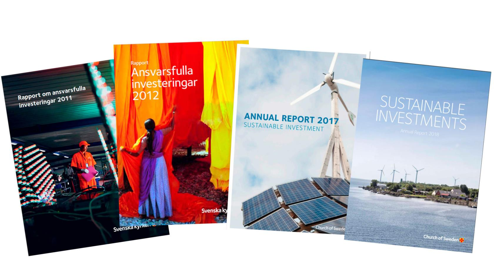 Four copies of annual reports about sustainable investments.