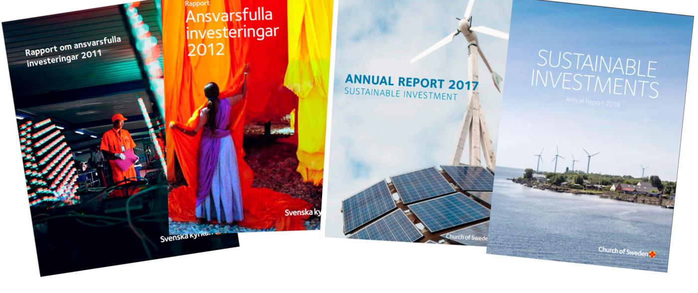 The Church of Sweden has published yearly reports on its work with responsible investment since 2011. You can also find our investment policy further down on this page.