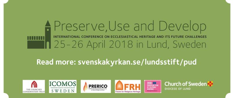 During two days, 25-26 April 2018, the Diocese of Lund, Church of Sweden, is welcoming you to an international conference focused on use and development of church buildings and ecclesiastical heritage. The conference will presents projects and methods with the aim of finding extended use for churches as sustainable resources for local communities and parishes. Several keynote speeches give theological, societal and heritage perspectives on church buildings and cultural history in a European context.